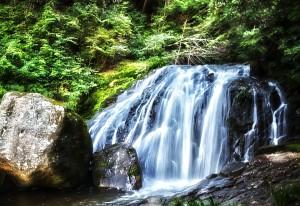 滝と稲穂でHDR@高さ10メートルの鳴滝