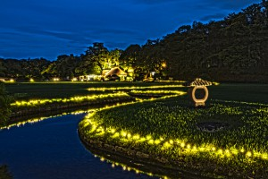 岡山後楽園と烏城でHDR@岡山後楽園の蛇行した小川とイルミ、日没後!