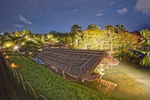 岡山後楽園と烏城でHDR@藁ぶき屋根の下の高瀬舟をHDR!