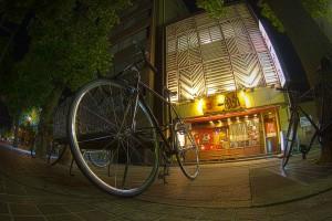 有名ラーメン店のロードバイク@BicyariOkayama
