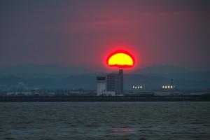 POLDER@ファーストトライ!児島湾に沈む夕日!
