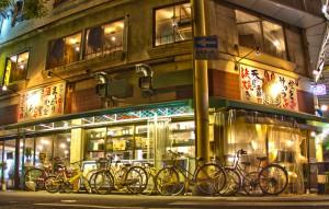 ドラム缶焼の店先にある自転車@BicyariOkayama