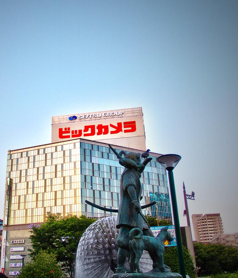 岡山駅から見たビックカメラ