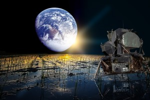 月七区と呼ばれる水田に写るアポロ11号@Polder2
