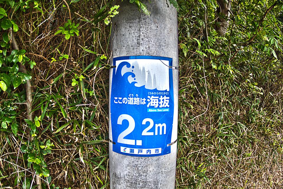 水没村の道路の電柱