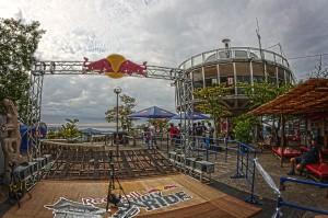 千光寺公園展望台の横に作られたスタート台@Red Bull Holy Ride