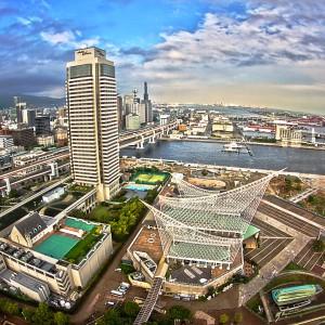 ポートタワーの展望台から見た神戸海洋博物館!