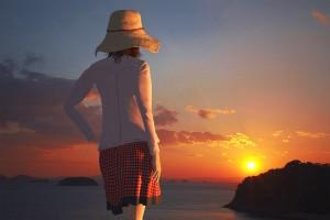 夕日にサヨナラする3Dモデル【瀬戸内海の島に沈んでゆく夕日シーン】@瀬戸埠頭の見える岬でHDR