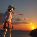 太陽を指さす3Dモデル【瀬戸内海の島に沈んでゆく夕日シーン】@瀬戸埠頭の見える岬でHDR