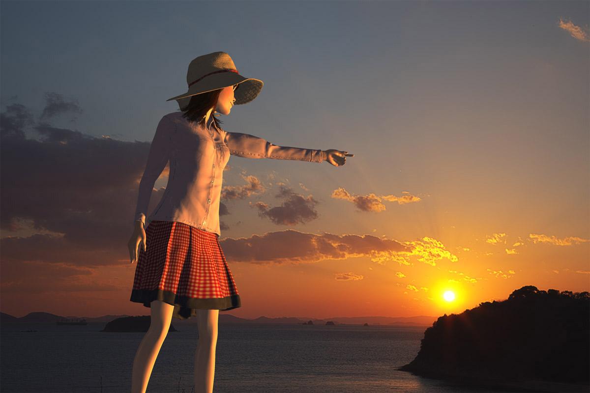 夕日を指さす少女