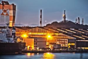 サノヤス造船水島製造所@瀬戸埠頭の見える岬でHDR