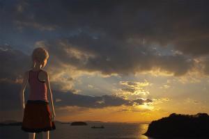 両手を振るポニーテールの少女の3Dモデル【瀬戸内海の雲に隠れてる夕日シーン】@瀬戸埠頭の見える岬でHDR