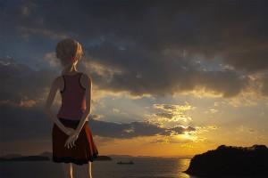 背伸びをする少女の3Dモデル【瀬戸内海の雲に隠れてる夕暮シーン 】@瀬戸埠頭の見える岬でHDR