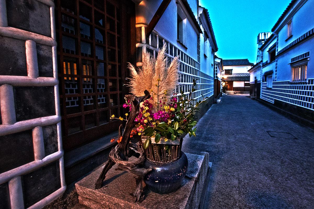 生け花と白壁