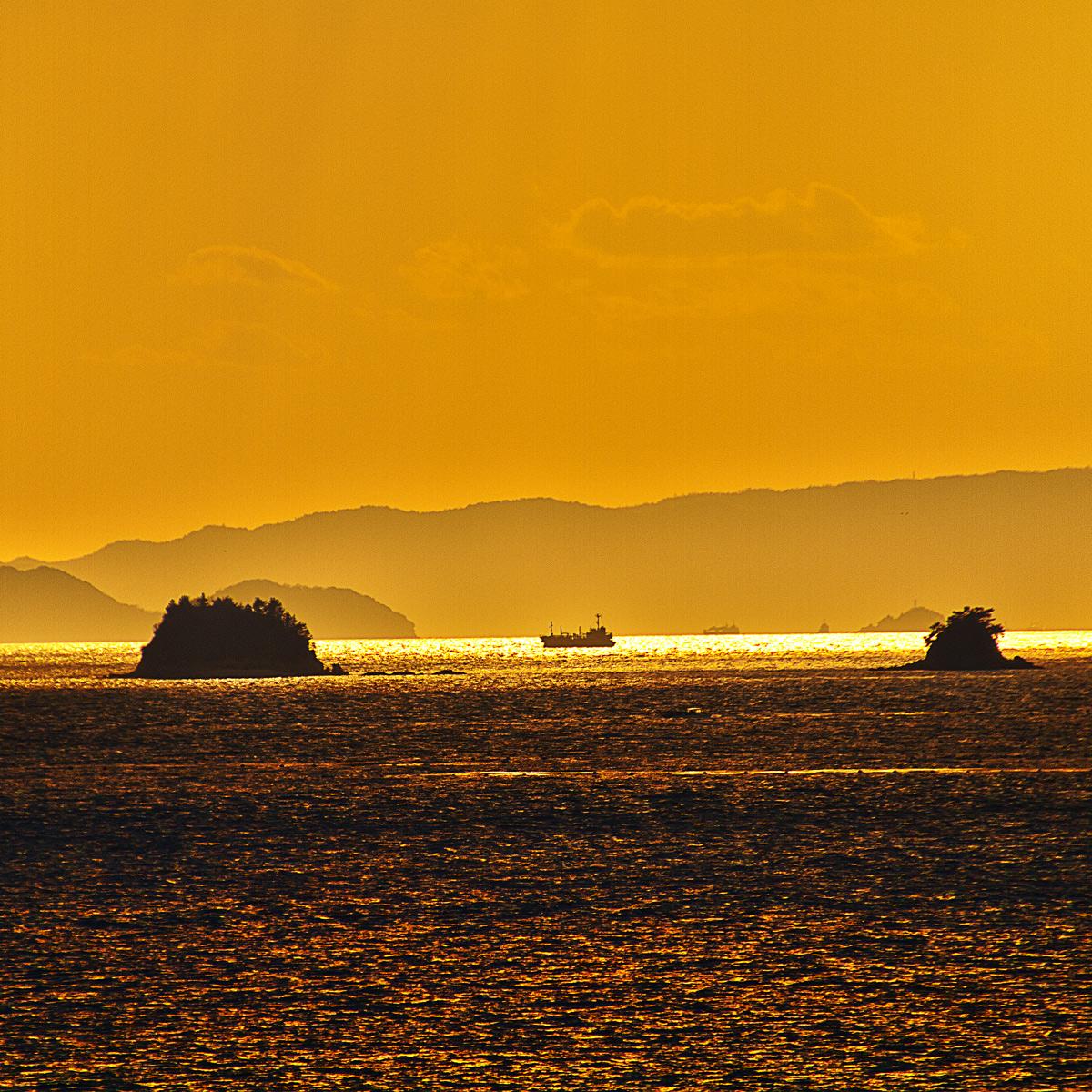 金色に輝く道に浮かぶ船