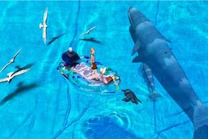 親子クジラと3Dモデルの合成@たまの港フェスティバルでHDR
