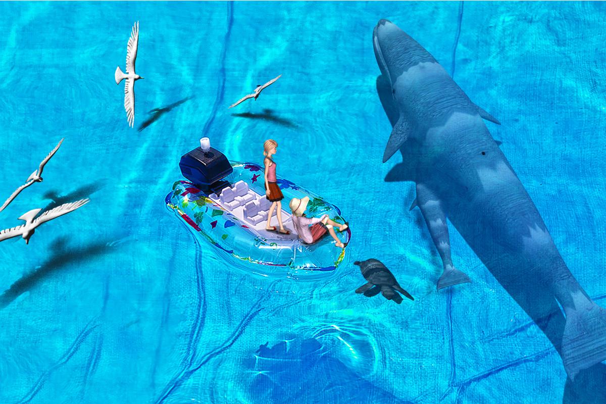 3Dモデルとクジラ