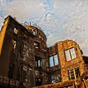 夕日に照らされる原爆ドーム@A‐BOMB DOME