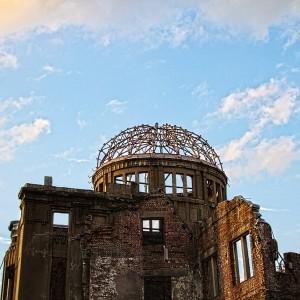 ドーム状の鉄枠だけが残る原爆ドーム@A‐BOMB DOME