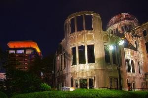 おりづるタワーと原爆ドームの夜景@A‐BOMB DOME