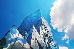 大阪富国生命ビルに映った雲@Building in Sky