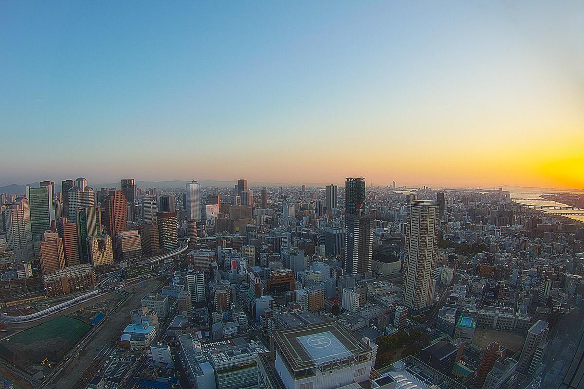 夕暮れの大阪