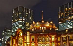 東京駅丸の内駅舎北ドーム@夜の東京駅丸の内駅舎