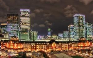 新丸ビル7階テラスからの東京駅舎@夜の東京駅丸の内駅舎