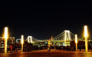 シンボルプロムナードからのレインボーブリッジ@夜のレインボーブリッジ