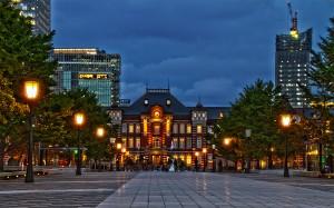 行幸通りからの東京駅@夜の東京駅丸の内駅舎